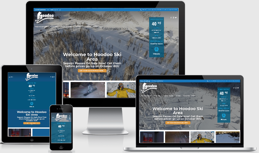 Ski Hoodoo Website rendered on many devices